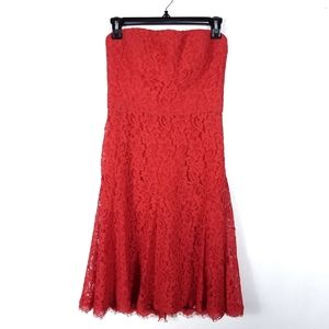 Diane Von Furstenberg Red Lace Strapless Dress